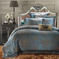 Wholesale Lace Cotton Twin Sheets - Wholesale-European Style Luxury. Cotton Satin Jacquard Double 4pc Bedding Set Suit Bed flat Sheet Duvet Cover Pillowcase King queen