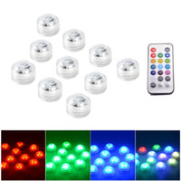 Wholesale 10pcs Submersible LED RGB SMD3528 Multicolor Party Vase Base Light Waterproof Decrotion Light w Remote Control LD966 SZ