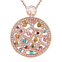 Wholesale Round Solitaire Diamond Pendant - Fashion K Gold Rose Gold Color Round Diamond Lady Necklace Christmas Promotions Global Free Shipping AKN073