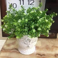 Wholesale Simulation Grass - One Milan Greenery Artificial Milan Green Plant Simulation Plastic Grass Bunch for Floral Accessories