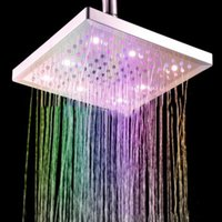 Wholesale Shower Head For Wall - Modern Style Square Bathroom Shower Head with Colorful Lights Feature For LED Shower Heads Waterfall 8-Inch Polished