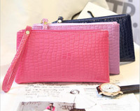 Free DHL Fashion Solid Color Ladies PU Leather Hangbags Femmes Casual Embossed Zipper Crocodile Pattern Purse Wallet Phone Package