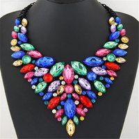 Wholesale Exaggerated Jewellery - Newest National Wind Handmade Woven Water Droplets Bohemian Style Necklace Exaggerated Vintage Necklace for Women Fashion Jewellery