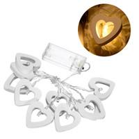 neuheit led leuchtet heimdekorationen großhandel-1.2M Heart Shaped Holz String Light Batteriebetriebene 10 Leds Warmweiß Neuheit Romantische LED String Licht für Heimtextilien
