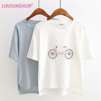 Wholesale Bicycle Print Shirt - Wholesale- LUNDUNSHIJIA Woman 2017 Summer Style Kawaii Tops Short Sleeve O-neck T-shirt Bicycle Embroidery Tees Womens Cotton T-Shirt