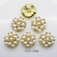 50pcs 22mm Round Rhinestones Pearl Button Wedding Decoration Diy Buckles Accessory Silver Golden