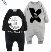 Wholesale Baby Winter Sleeping Suit - 2017 New Baby romper suit Cotton long sleeve letter NO SLEEP Printing rompers boys girls costumes Toddlers bodysuits tights sets