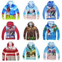 Wholesale Wholesale Hoodies Designs - 9 Designs Children Moana Zipper Hoodies Moana Cardigan Sweatshirts Jacket Zipper Coat Cartoon Xmas Outwear Clothing CCA6856 60pcs