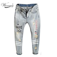 Wholesale Paints Female Jeans - Wholesale- The Newest fashion printed ripped denim Harem Pants Spring Break European Station female letter painted jeans JP-016
