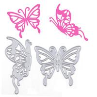 kelebek şablonlar toptan satış-2 Adet Kelebekler Severler Kesme Ölür Stencil DIY Scrapbooking Albümü Kağıt Kart Ölür