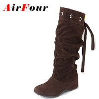 Wholesale Ladies Footwear Boots - Wholesale- Airfour 4 Color Half Boots Women Lady Winter Boots Footwear Wedge Shoes Fashion Sexy Snow Boots Warm EUR Size 34-43