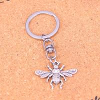 Wholesale Vintage Honey - New Fashion bee honey Keychains Vintage Antique Silver plated Keyholder fashion Solid Pendant Keyring gift