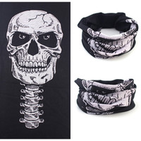 Wholesale Cap Mask Function - Wholesale-Halloween Skull Skeleton Mask Outdoor Motorcycle Bicycle Multi Function Scarf Half Face Masks Cap Neck Ghost Scarf