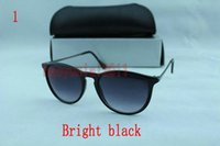 Wholesale Polished Sunglasses - 1pcs Top Quality Fashion Sunglasses For Man Woman Erika Eyewear Designer Brand Sun Glasses Polished Black 54mm Lenses Box Case*bhj