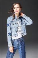Wholesale Jean Jacket Beads - 2017 Spring Pearl Star Pattern Denim Jacket Women Long Sleeve Stand Collar Casual Jean Basic Coats Outerwear