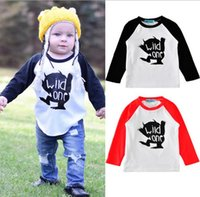 Wholesale Baby Boys Long Sleeve Tops - 2017 Boys Girls Baby Childrens T-shirts Clothing Long Sleeve Tshirts Letters Cartoon Fox tshirts Toddler Kids Clothes Bottoming Shirt Tops