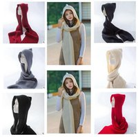 Wholesale Ladies Fashion Hats Small - Women Luxury Scarf Hooded Knitted Fashion Small Ball Hats Lady Long Hooded Scarves Women Warm Scarf DHL Free Shipping