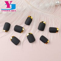 Wholesale Short Nail French - Wholesale- High Quality Matte Full Cover Nail Art Tips Metallic Decoration French Short False Nails Tips UV Gel Black Acrylic Fake Nails