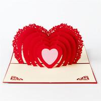 invitaciones de boda corazón corte láser al por mayor-10pcs / lot Laser Cut invitaciones de boda 3D Hallow Out Loving Heart Valentine's Greeting Cards
