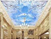 Wholesale Pigeon Sound - 3d wall murals wallpaper for walls 3 d ceiling murals wallpaper custom photo mural Snow blue sky white clouds pigeons decoration painting