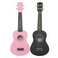 "Wholesale Guitar Bass Maple - 21"" Black Pink Maple Basswood Soprano Ukulele Uke Nylon 4 Strings 12 Fret Acoustic Bass Guitarra Guitar Musical Instrument"