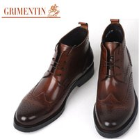 Men carving boots - New Mens Boots Genuine Leather Black Brown Round Toe Wingtip Carved Business Work Boots Size Bo7