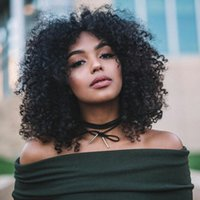 Wholesale Wigs For Black Ladies - 8-28inch U Part Wigs For Black Women Indian Virgin Hair Afro Kinky Curly Full Lace Wigs Natural Black G-EASY