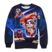 Wholesale Woman S Galaxy Crewneck - Wholesale-Alisister space galaxy sweatshirt fashion women men cat pizza hoodies printed Meowy Christmas Crewneck Sweatshirt 3d sweat shirt