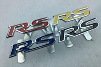 Wholesale Chevrolet Emblems Badges - 3D Metal RS Grille Emblem Sticker Badge Car Styling For Ford Focus Chevrolet cruze Kia Rio Skoda Octavia Mazda VW Hyundai Opel