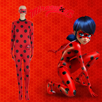 Wholesale Costume Bags - France&Japan&Korea Cartoon Miraculous Ladybug Cosplay Ladybug Costume Marinette Costume Zentai + Small Bag +Eye patch per set