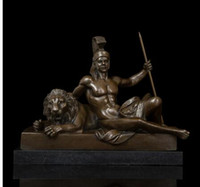 Wholesale Folk Life - Arts Crafts Copper Abstract Life Classical Tamers Sculpture Vintage Art Man and Tiger Bronze Statues Figurine Artwork Collection Life of a