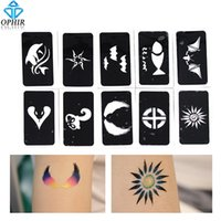 Wholesale Temporary Tattoo Stencil Sheets - Wholesale-OPHIR 10 PC Airbrush Sheets Stencils(Animal series) for Body Painting Glitter Temporary Tattoo Stencils Kit 7.1x 3.6cm_TA032E