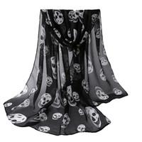 Wholesale Girls Skull Scarf - Wholesale-Autumn Womens Scarf Girls Skulls Printed Black Long Soft Scarf Shawl Girls Neck Scarf
