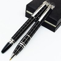 Wholesale Black Pen Ink - Luxury black checks Starwake mb Roller Ball pen Germany Brand Rollerball Pen with series number crystal top