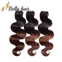 Plonger Les Cheveux Pas Cher-New Star Ombre Hair Extension Péruvien Human Hair Body Wave ondulé 2 tons Ombre Weaves Queen HairProduits Dip Dye T # 1B / # 4 Couleur OmbreHair