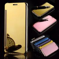 Wholesale Uv Coating Phone Cases - Clear View UV Coating Mirror Flip Phone cover Case for BBK VIVO V5 y67 Xplay 6 mobile phone Case coque Funda capa Bags