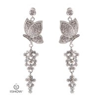 Wholesale Butterfly Earring Clips - Wedding Bride Silver Plated Crystal Long Chandelier Drop Earrings Butterfly Dangle Earrings Fashion Woman Gift Jewelry Boucle