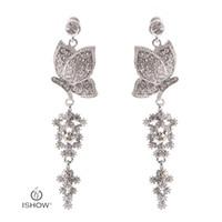 Wholesale Butterfly Backing Earrings - Wedding Bride Silver Plated Crystal Long Chandelier Drop Earrings Butterfly Dangle Earrings Fashion Woman Gift Jewelry Boucle