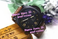 Wholesale Day Pvd - Top Factory AAA Men's Mechanical Sport Pam Watch Men Black Pvd Steel Calf Leather Watches Mens 3 Days Power Reserve Divers Wristwatches
