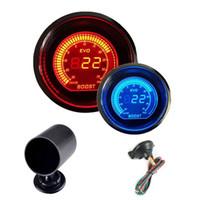 medidor de vacío al por mayor-Caliente 2 pulgadas 52 mm Turbo Boost Medidor de vacío 12V Azul Rojo LED Tinte de luz Lente Pantalla LCD + Manómetro Pod Car Meter Digital Negro Universal