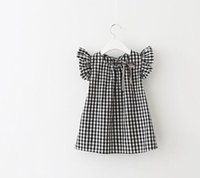 Wholesale Girls Tartan Dresses - Girl's plait tartan dress cheap Children's grid sleeve dress a girl doll unlined upper garment