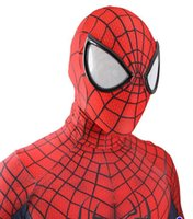 Wholesale red spiderman masks resale online - Halloween adult marvel lycra The Amazing Spiderman Costume Cosplay mask lens D Printing