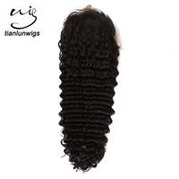 22 inç dantel ön insan peruk toptan satış-22 inç doğal renk ananas dalga İnsan saç tam dantel peruk 100% siyah kadınlar için örgü saç derin dalga dantel ön peruk