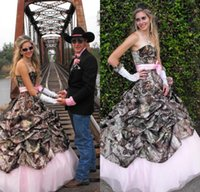 Wholesale Cowboys Hot Sexy - 2017 Hot Fashion Cowboy Country A Line Camo Wedding Dresses Pleats Sexy Sweetheart Lace-up Back Bridal Gown Pink Lining Bow Sash