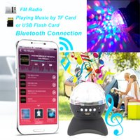 Wholesale Led Wireless Ball - LED Indoor Lighting Night Lights Rotating Magic Ball speaker Light with Wireless Bluetooth Stage Effect Rotating Bulb With USB Interface