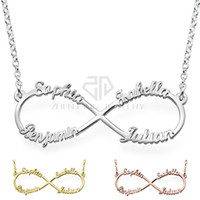 Wholesale Engraved Necklace Name - Engraved Nameplate Infinity Custom Name Necklace Silver color 316 Stainless Steel Pendant with 4 name Jewerly
