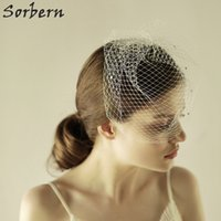 Wholesale Large Rhinestone Comb - White Large Mesh Bridal Veil Birdcage With Cute Comb Crystals Wedding Face Veils Bridal Accessories Short Veils For Church Black