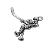 Wholesale Wholesale Fashionable Charm Bracelets - Hot Fashionable Antique Silver Sports Ice Hockey Player DIY Pendants For Necklace&Bracelet
