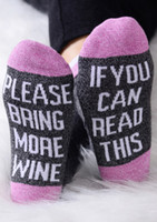 Wholesale Funny Footballs - 1pair=2piece IF YOU CAN READ THIS Socks Women Men Funny red unisex for Valentine Bring Me A Glass Of Wine Cotton casual sock