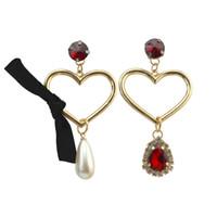 pendientes colgantes de perlas de oro blanco. al por mayor-Idealway Fashion Jewelry White Pearl Rhinestone Crystal Gem Dangle chapado en oro en forma de corazón mujeres gota pendientes joyería